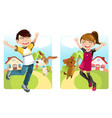 kids with dog vector image