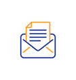 mail correspondence line icon read message sign vector image vector image