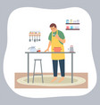 man cooking at home guy wearing apron with spoon vector image vector image