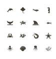 marine life - flat icons vector image vector image