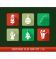 Merry Christmas colorful web app flat icons set vector image vector image