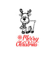 merry christmas lettering on white background vector image vector image