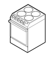 Modern electric cooker icon outline style vector image