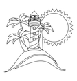 monochrome contour with beach and headlight vector image
