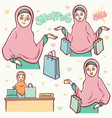 moslem girls shopping vector image