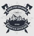 mountain adventure vintage badge logo or emblem vector image