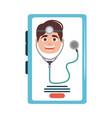 online doctor character smartphone stethoscope vector image vector image
