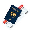 passport with tickets passport and boarding pass vector image vector image