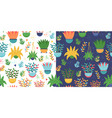patterns set with colorful plants and pots vector image vector image