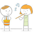 playing flute and drum vector image vector image
