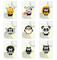 post mark with funny animals vector image vector image