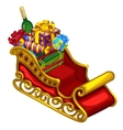Red sleigh of Santa Claus with gifts and sweets vector image vector image