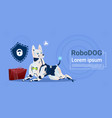 robotic dog protecting data cute domestic animal vector image vector image