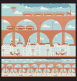 seamless ornament with an old town and bridges vector image