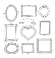 set doodle frames on white background vector image vector image