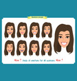 set of woman character expression isolated vector image vector image