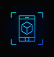 smartphone with cube blue outline icon ar vector image vector image