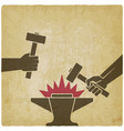 two hands with hammers above anvil vintage vector image vector image