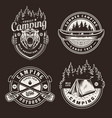 vintage summer outdoor recreation emblems vector image vector image
