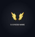 wing emblem abstract gold logo vector image