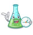 with clock science beaker character cartoon vector image vector image