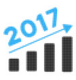 2017 bar chart trend halftone icon vector image vector image