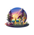 a campsite young people walking vector image vector image