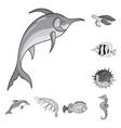a variety of marine animals monochrome icons in vector image vector image