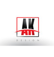 ak a k logo letters with red and black colors and vector image vector image