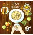 Apple pie Food top view vector image vector image