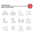 Baby furniture line icons vector image vector image