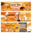 bakery desserts pastry cakes and sweets vector image vector image