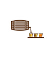 Beer Flight Keg Pouring on Glass Retro vector image vector image