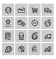 black logistic and shipping icon set vector image vector image