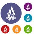 bonfire icons set vector image vector image
