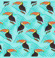 bright pattern with toucans and leaves on blue vector image