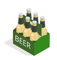 color isometric icon with case of beer with vector image