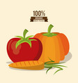 colorful poster of organic best food with pumpkin vector image