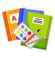 copybook and textbook paints and brush vector image vector image