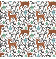 cute flat deer on seamless pattern vector image vector image