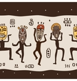 Dancing figures wearing African masks vector image vector image