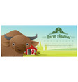 farm animal and rural landscape with cow vector image vector image