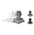 fragmented pixel halftone reader student icon vector image vector image