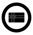 gift card black icon in circle vector image vector image