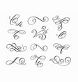 grunge swirls ink pen calligraphy set vector image