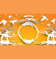 halloween background with haunted tree crow and vector image vector image