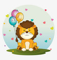 happy birthday card with cute lion vector image vector image