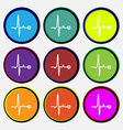 Heartbeat icon sign Nine multi colored round vector image