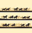 horizontal herd of horses vector image