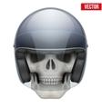 Human skull with motor biker helmet vector image vector image